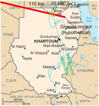 2008tc3 trajectoire