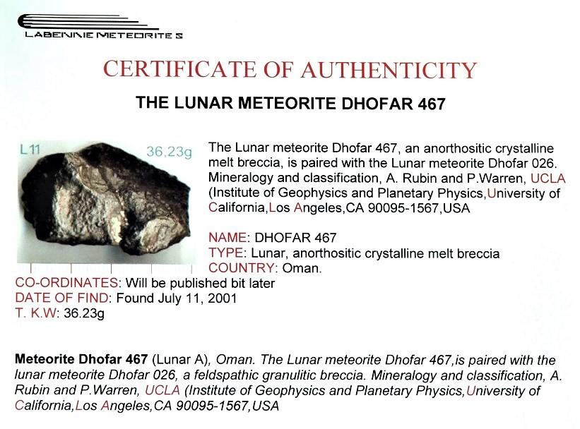 Dhofar 467 certif