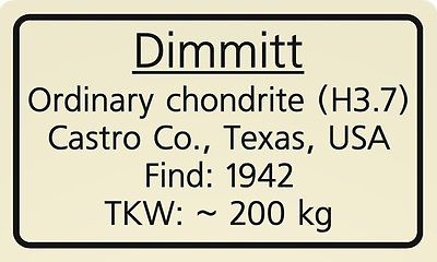 Meteorite label dimmitt